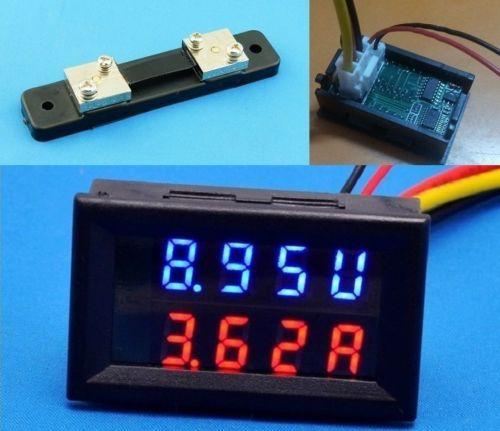 200 В 50A с Шунта 50A DC Цифровой Вольтметр Амперметр LED Amp Вольтметр для 12 В